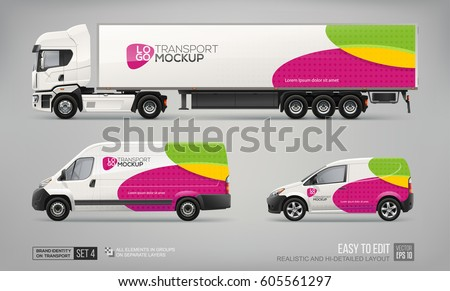 Hi-detailed Transport Mockup Brand Identity Template. Set of Truck Trailer, Cargo Van, Delivery Car. Abstract graphic elements on Car layout for Branding and Corporate identity.  Branding mockup