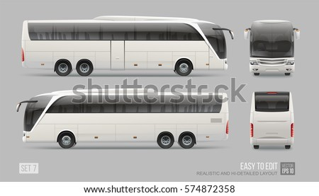 Hi-detailed Vector Coach bus blank surface template isolated on grey background. Easy to edit  layout Travel Passenger Bus for brand identity design. Front and back view realistic Bus template