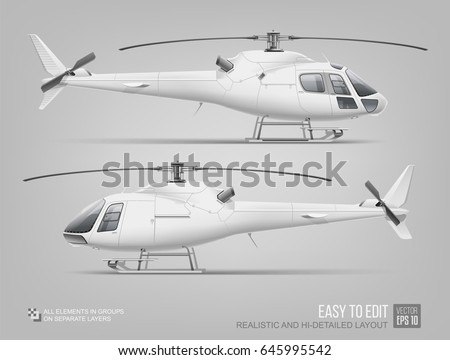 Hi-detailed vector Helicopter - Mockup template isolated on grey. White Eurocopter  mock up for corporate brand identity and advertising design on aviation transport. Passenger business transport