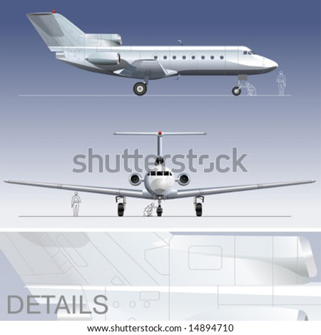 Hi-detailed vector illustration passenger business-jet. EPS-8  separated by layers.