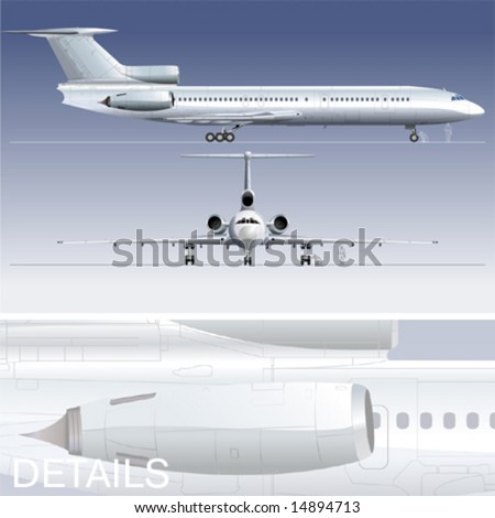 Hi-detailed vector illustration passenger jet. EPS-8 separated by groups and layers for easy edit.
