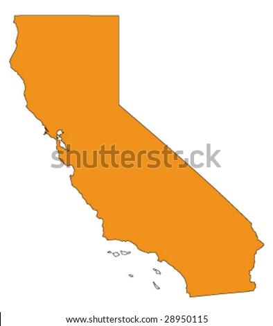 hi detailed vector map of california, usa
