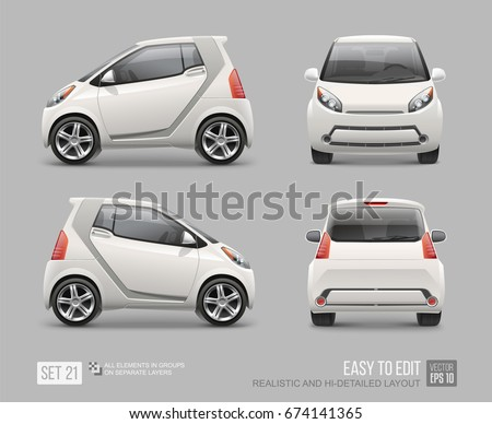 Hi-detailed white Micro Car - vector template mockup. Urban Electric Mini Car for branding corporate identity and logo design. Eco-friendly hi-tech vehicle mockup front, back, side view