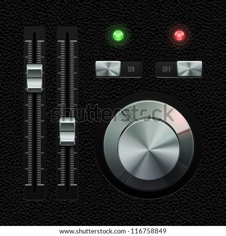 Hi-End UI Analog Volume Equalizer Level Mixer, Volume Knob Chrome On Leather Background. Metal Switch Button, Lamp, Bulb. Web Design Elements. Software Controls. Vector User Interface EPS10