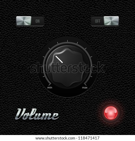 Hi-End UI Analog Volume Plastic Knob On Leather Background. Metal Chrome Button, Red Lamp, Bulb. Web Design Elements. Software Controls. Vector User Interface EPS10