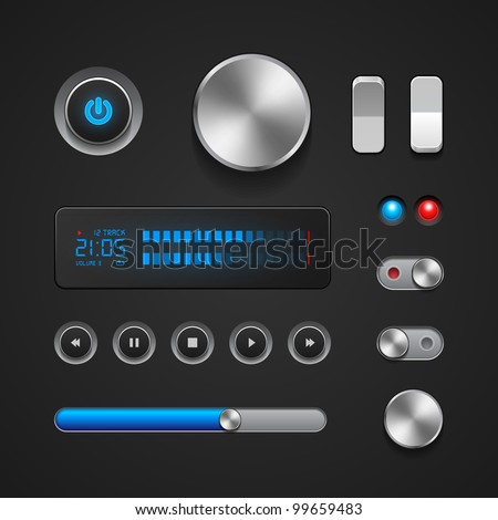 Hi-End User Interface Elements: Buttons, Switchers, On, Off, Player, Audio, Video: Play, Stop, Next, Pause, Volume, Equalizer, Power, Screen, Track
