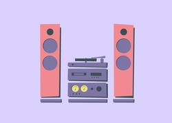 Hi-Fi stereo audio systems in rack with acoustic system. Set. Various electronics. Turntable. CD player. Sound amplifier with arrow indicators. Electronics for music lover. Color vector illustration.