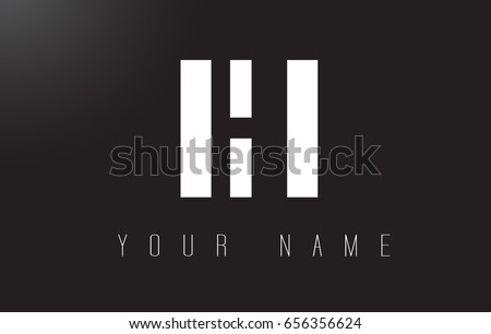 HI Letter Logo With Black and White Letters Negative Space Design.