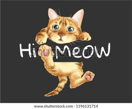 hi meow slogan with cat hanging
