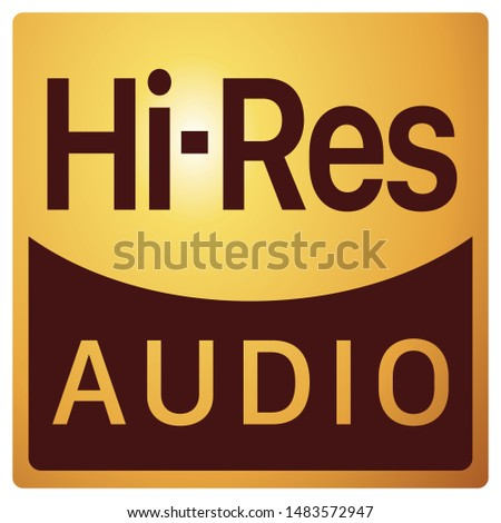 Hi-Resolution Audio sign on white background