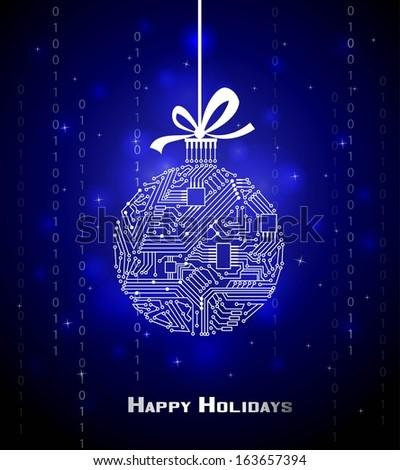 hi tech christmas ball on blue
