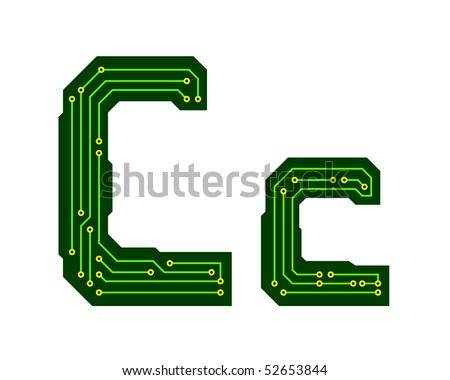 Hi tech circuit board alphabet letter c stock vector