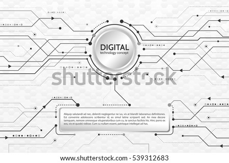 Hi-tech computer digital technology. Abstract technology communication concept.  Background with various technological elements. Vector eps10