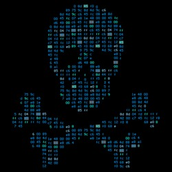Hi tech crossbones / death skull, danger sign from binary code. It illustrates the idea of cyber security, data protection and information breaches, vulnerabilities, hacking attacks.