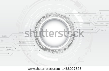 Hi-tech digital technology concept. Illustration high computer technology on grey background.  Abstract futuristic circuit board.