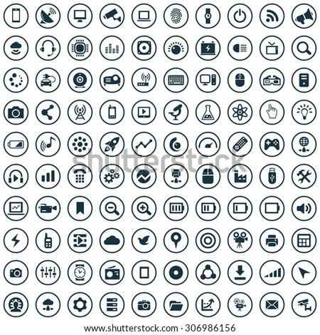 hi-tech 100 icons universal set for web and mobile