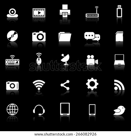 Hi-tech icons with reflect on black background, stock vector