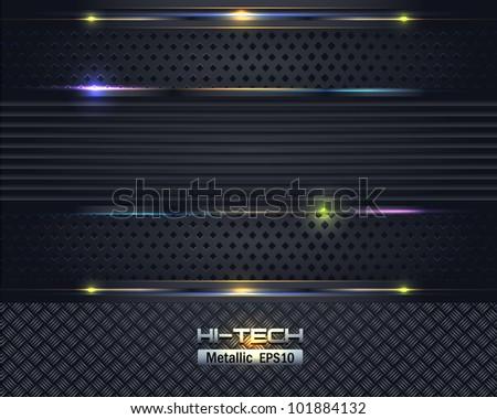 Hi-Tech Metallic Background Vector Design - stock vector