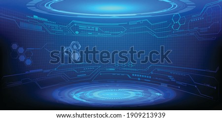 Hi tech modern tech layout stage or room with digital architecture circuit line around.Vector illustration.
