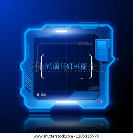 Hi tech square frame. Futuristic techno border design.