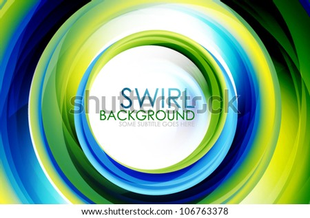 Hi-tech swirl abstract swirl shaped colorful background. Eps10 fully editable illustration
