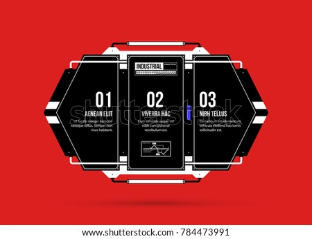 Hi-tech template with three options in black and red techno style on flat vibrant background