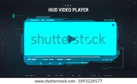 Hi-tech video player in HUD style. Blue digital mockup media player for app, ui, ux, web design and other. Futuristic Video Player template. Modern blue HUD skin. Vector illustration