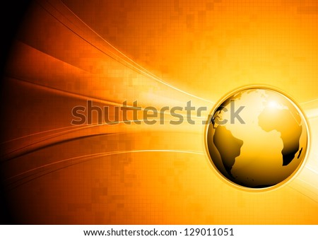 Hi-tech wavy background with globe. Vector design eps 10