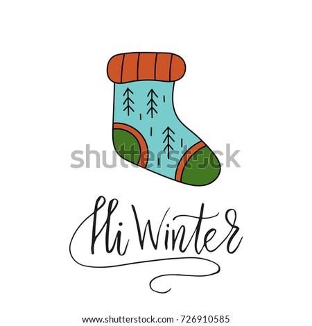 hi winter vector christmas card with hand lettering and winter