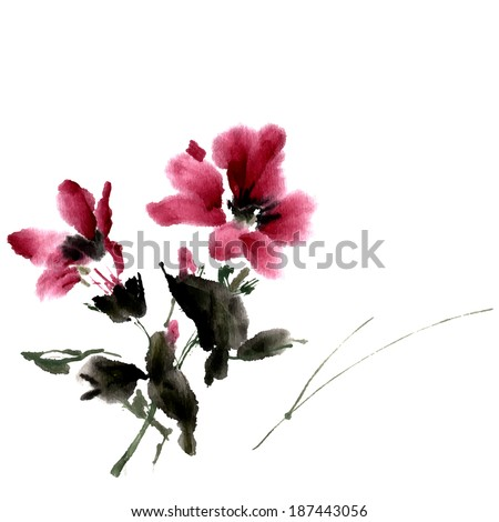 hibiscus flower ink painting