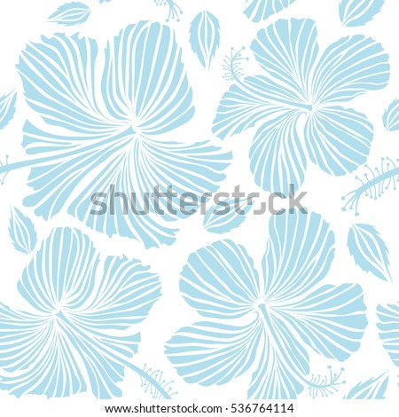 Hibiscus flowers on a white background in a trendy vector style. Hawaiian tropical natural floral seamless pattern in neutral colors.