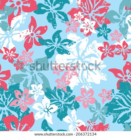 hibiscus grunge seamless