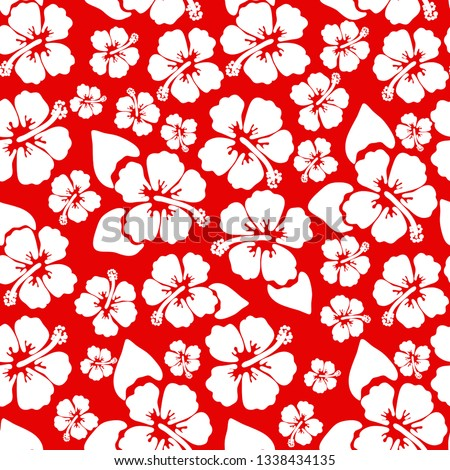 Hibiscus seamless background. Aloha Hawaiian shirt design. Vector illustration for clothing, textile in red and white colors