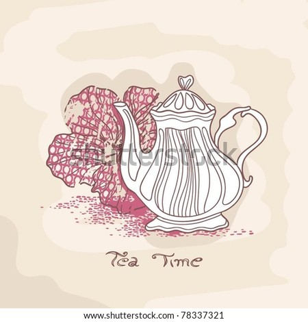 hibiscus tea card - stock vector