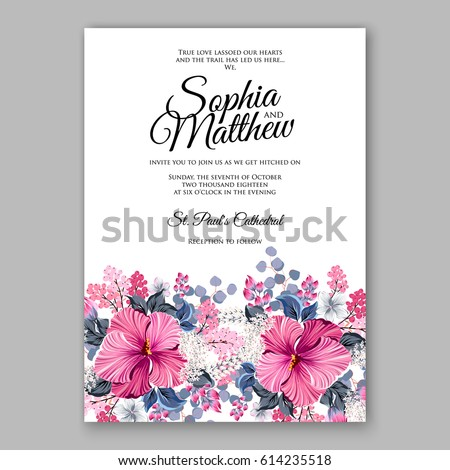 hibiscus wedding invitation