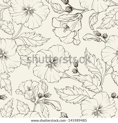 Hibiscuses background. Vector illustration.
