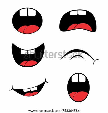 Hick Cartoon Mouth Set Vector