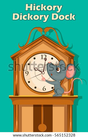 Hickory Dickory Dock, Kids English Nursery Rhymes book illustration in vector Stock photo ©