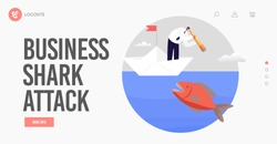 Hidden Danger Landing Page Template. Business Character Look through Spyglass in Ocean Water with Huge Fish. Business Man on Paper Boat Avoid Crisis, Bankruptcy Situation. Cartoon Vector Illustration