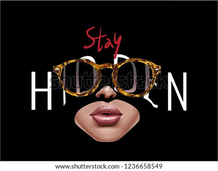 hidden slogan with woman face in shadow and sunglasses illustration