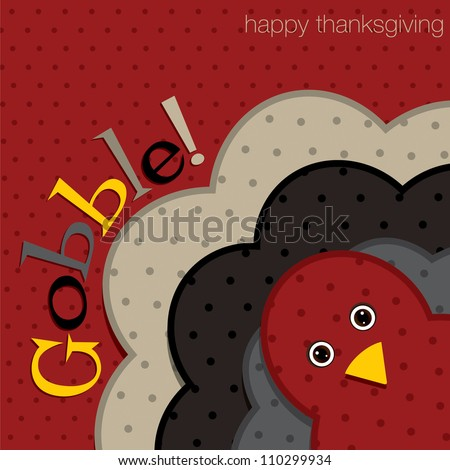 Hiding turkey spotty Thanksgiving card in vector format.