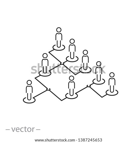 hierarchy icon, organization chart line sign on white background - editable stroke vector illustration eps10 Stock photo ©