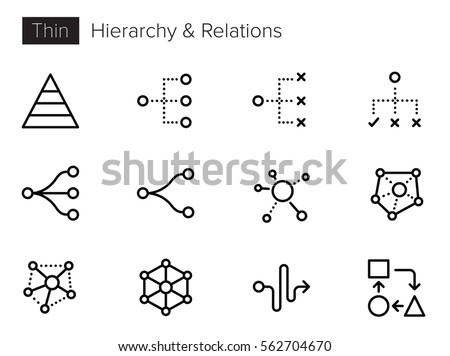 Hierarchy, Relations, Process Thin line Vector Icons set