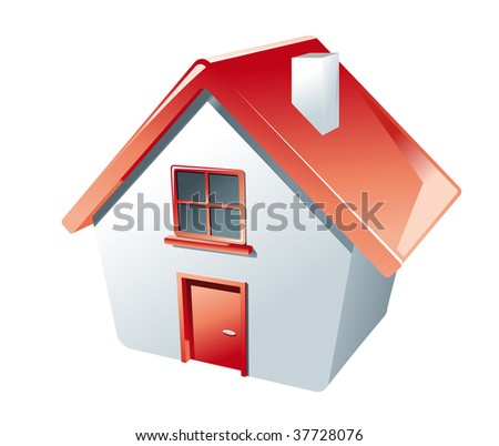 High angle perspective of a 3d Cartoon model house in red and white with a single door and window and a little chimney. jpeg version also available in gallery