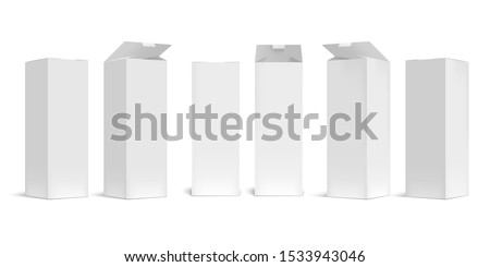 High box mockup. White open cardboard packaging long boxes, rectangular pack with realistic shadow vector set. Blank carton container, paper packages for transportation isolated on white background