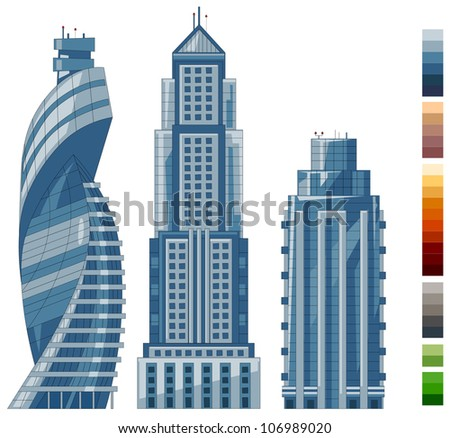 high buildings in vector