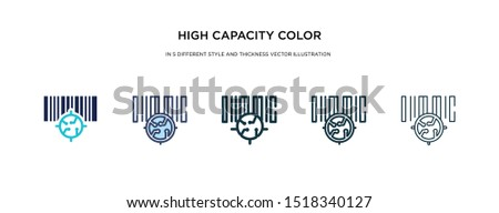 high capacity color barcode icon in different style and thickness vector illustration. Two colored and black high capacity color barcode vector icons in filled, outline, line, stroke style