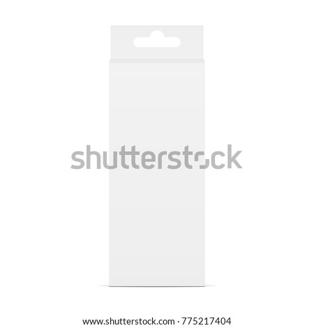 High carton box mockup with hanging tab - front view. Packaging for stationery. Vector illustration