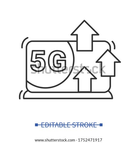 High data throughput with 5G internet connection icon.Fifth generation web bandwidth concept.Provider traffic speed of internet .Digital cloud network sign.Line vector illustration.Editable stroke