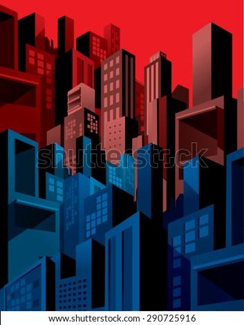 High density city buildings skyline, graphic comic style.